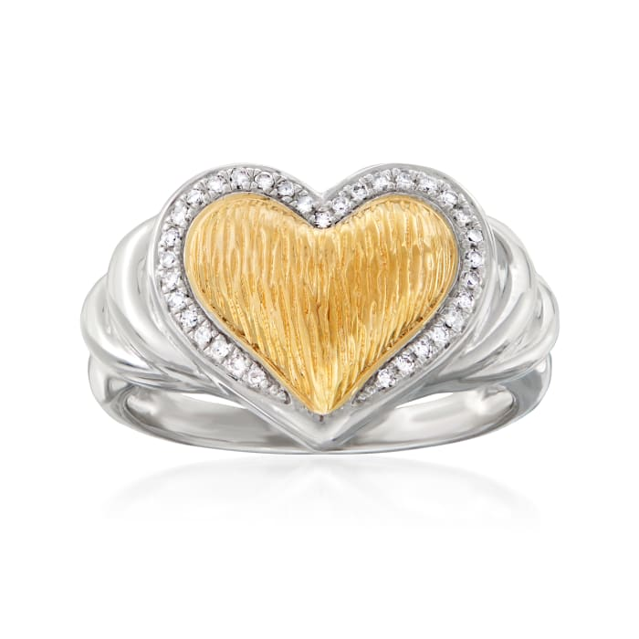 .10 ct. t.w. Diamond Heart Ring in Sterling Silver and 18kt Gold Over Sterling