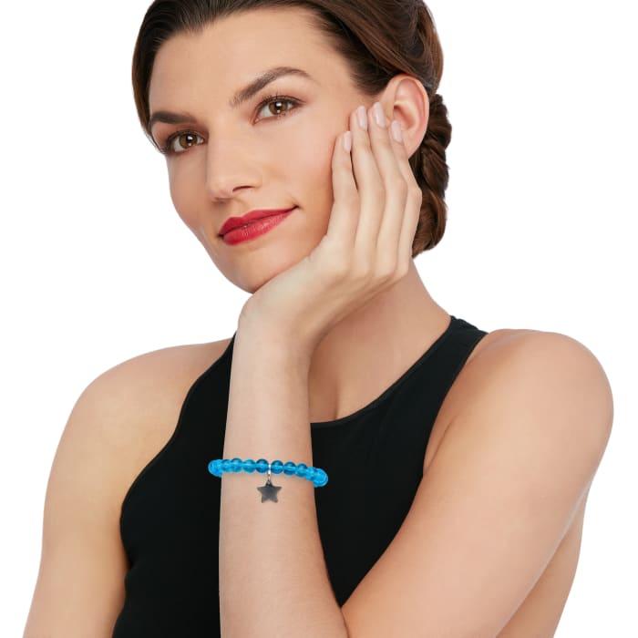 Italian Light Blue Murano Glass Bead Stretch Bracelet with Sterling Silver Star Charm