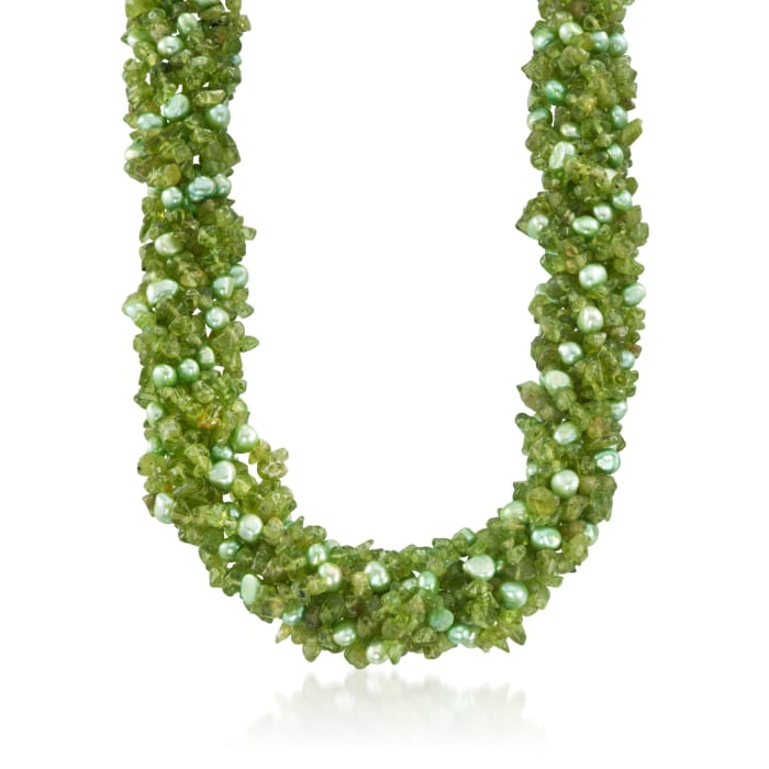 Green Cultured Pearl and Peridot Torsade Necklace with Sterling Silver