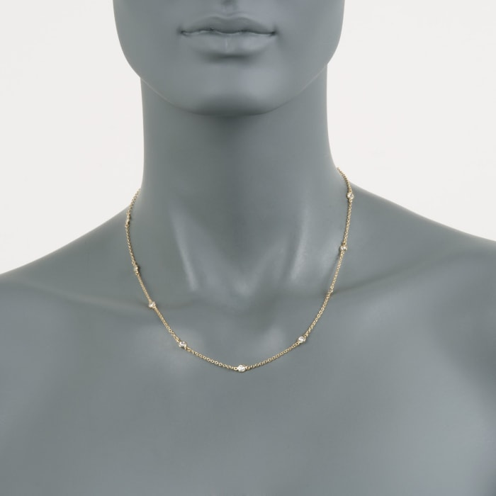 1.00 ct. t.w. CZ Necklace in 14kt Gold Over Sterling 18-inch