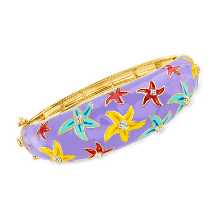 .33 ct. t.w. White Topaz and Multicolored Enamel Starfish Bangle Bracelet in Sterling Silver