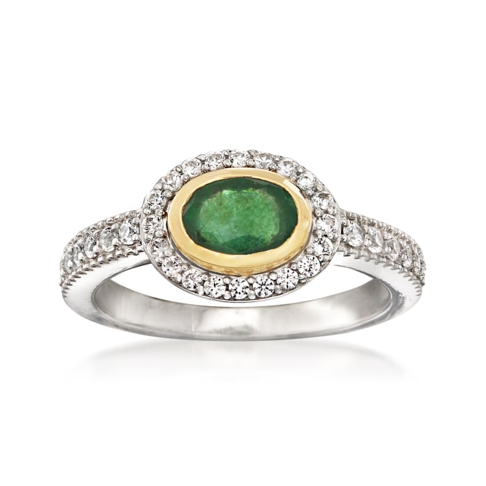 .70 Carat Emerald and .50 ct. t.w. White Zircon Ring in Sterling Silver with 14kt Yellow Gold
