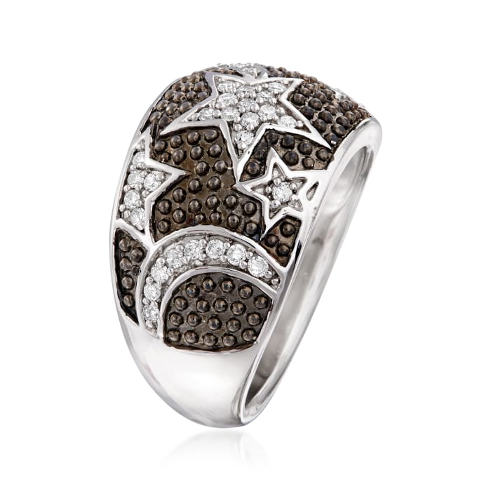 .30 ct. t.w. Diamond Star and Moon Ring in Sterling Silver with Black Rhodium
