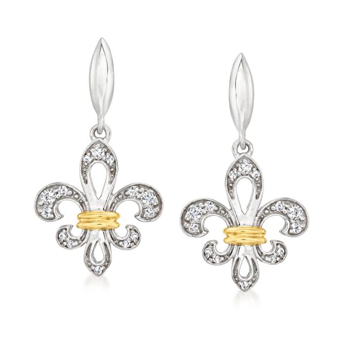 .24 ct. t.w. Diamond Fleur-De-Lis Drop Earrings in Sterling Silver and 14kt Yellow Gold