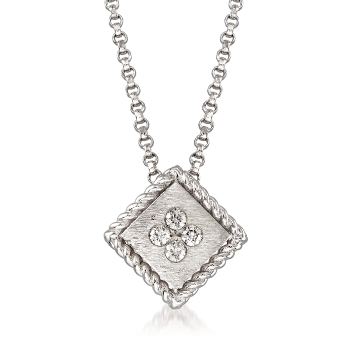 """Roberto Coin """"Palazzo Ducale"""" Diamond-Accented Pendant Necklace in 18kt White Gold"""