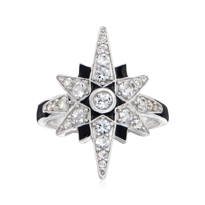 1.10 ct. t.w. White Topaz and Black Enamel Star Ring in Sterling Silver