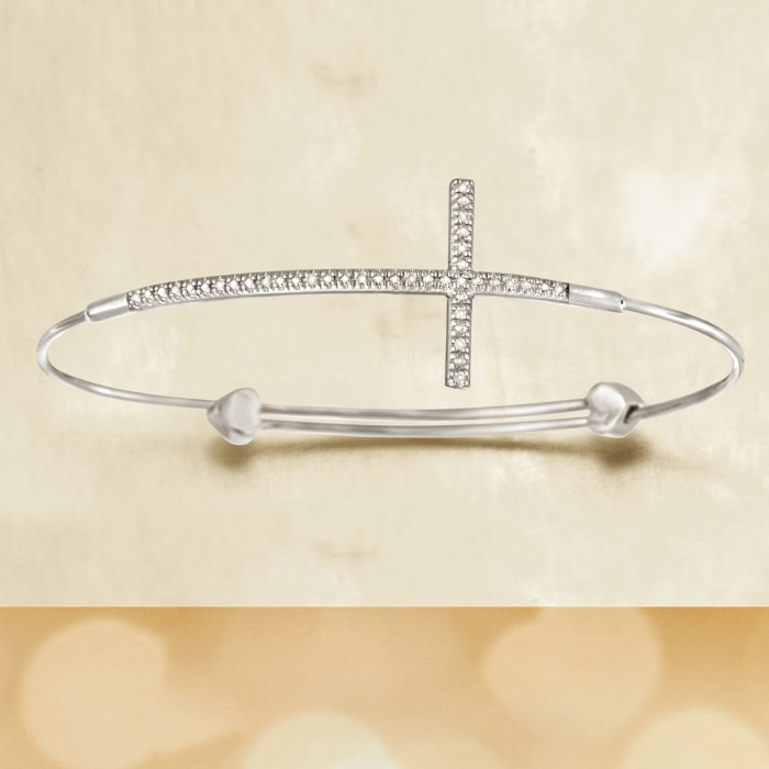 Sterling Silver Sideways Cross Bangle Bracelet with Diamond Accents