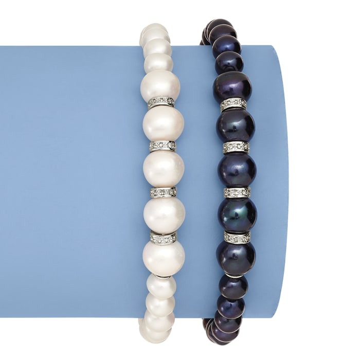 6-8.5mm Cultured Pearl and .25 ct. t.w. Diamond Stretch Bracelet in Sterling Silver