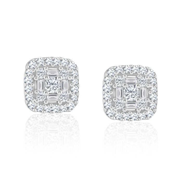 .32 ct. t.w. Baguette and Round Diamond Square Cluster Earrings in 14kt White Gold