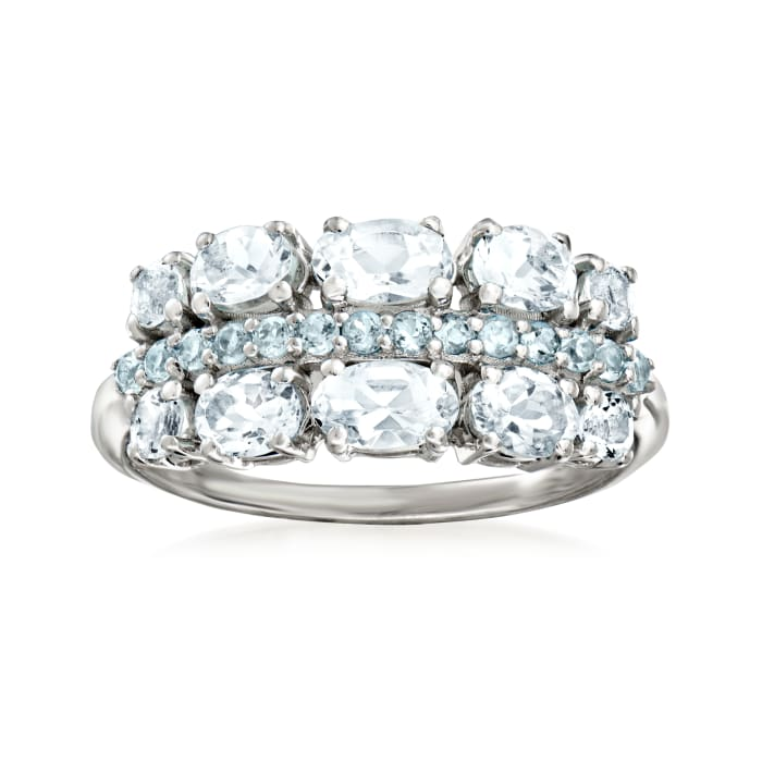 1.00 ct. t.w. Aquamarine and .20 ct. t.w. Swiss Blue Topaz Ring in Sterling Silver