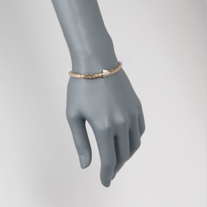 "Phillip Gavriel ""Woven Gold"" .13 ct. t.w. Pave Diamond Link Bracelet in 14kt Yellow Gold"