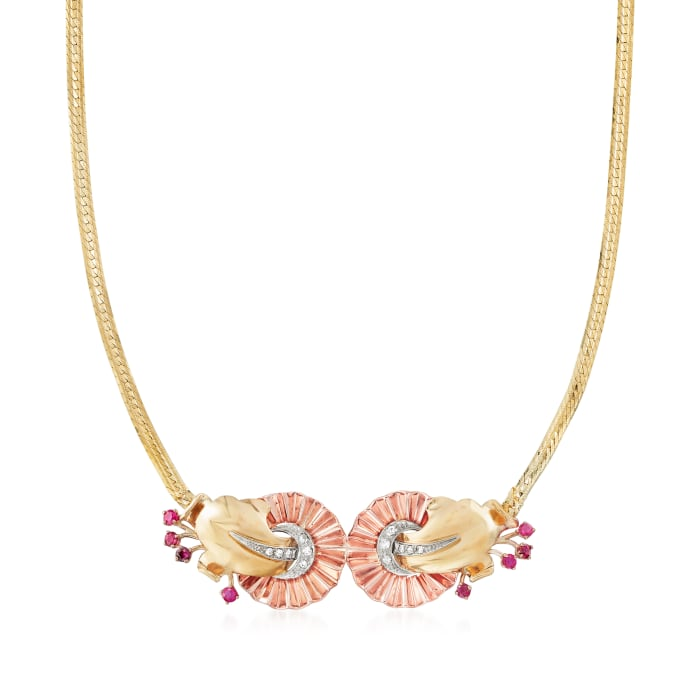 C. 1970 Vintage .80 ct. t.w. Ruby and .35 ct. t.w. Diamond Fan Necklace in 14kt Tri-Colored Gold