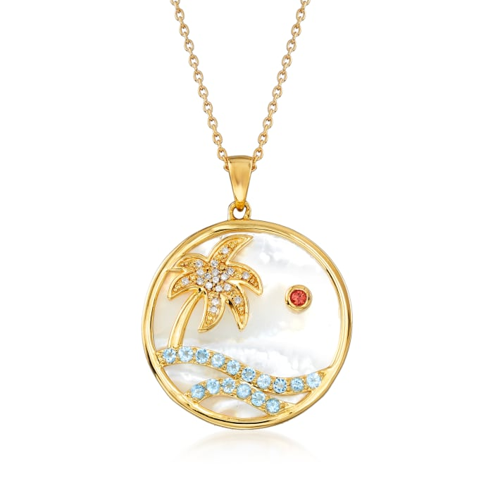 Mother-Of-Pearl and 1.75 ct. t.w. Swiss Blue Topaz Paradise Pendant Necklace in 18kt Gold Over Sterling