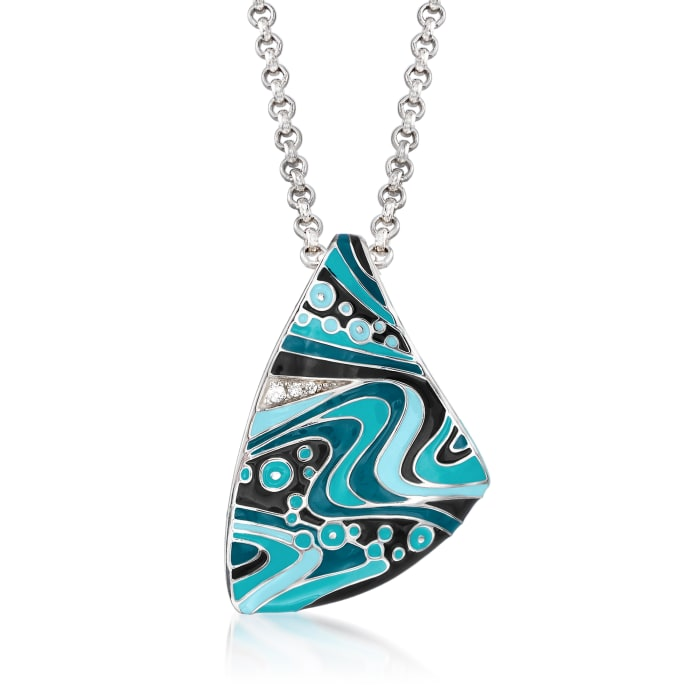 """Belle Etoile """"Calypso"""" Turquoise and Multicolored Enamel Pendant with CZ Accents in Sterling Silver"""