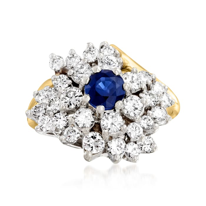 C. 1980 Vintage 1.50 ct. t.w. Diamond and .55 Carat Sapphire Cluster Ring in 14kt Yellow Gold