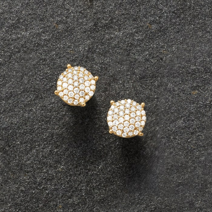 .33 ct. t.w. Diamond Cluster Stud Earrings in 18kt Gold Over Sterling
