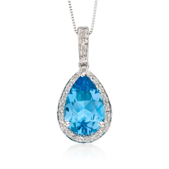 3.00 Carat Blue Topaz and .10 ct. t.w. Diamond Pendant Necklace in 14kt White Gold