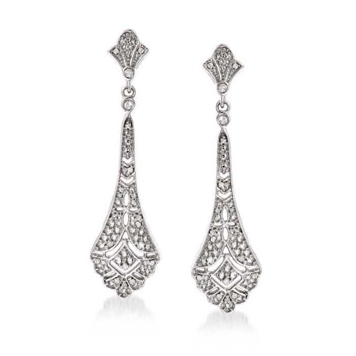 .15 ct. t.w. Diamond Openwork Drop Earrings in Sterling Silver