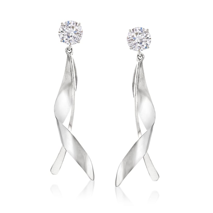 14kt White Gold Twisted Leaf Drop Earring Jackets