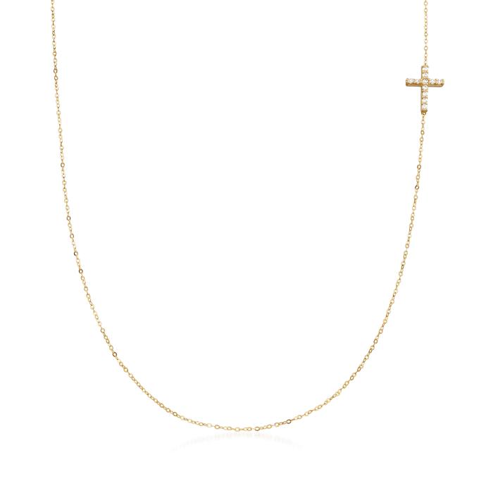 Italian .12 ct. t.w. CZ Sideways Cross Station Necklace in 14kt Yellow Gold