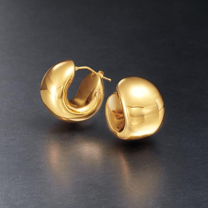 Italian Andiamo 14kt Yellow Gold Over Resin Wide Huggie Hoop Earrings