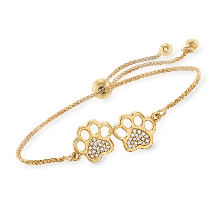 .15 ct. t.w. Diamond Paw Print Bolo Bracelet in 18kt Gold Over Sterling