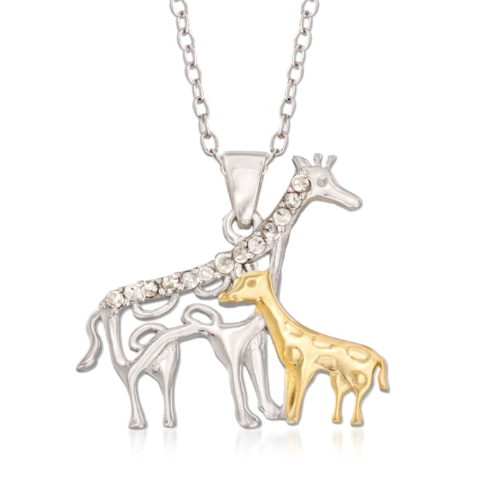 .10 ct. t.w. Diamond Mother Giraffe and Baby Pendant Necklace in Sterling Silver and 18kt Gold Over Sterling