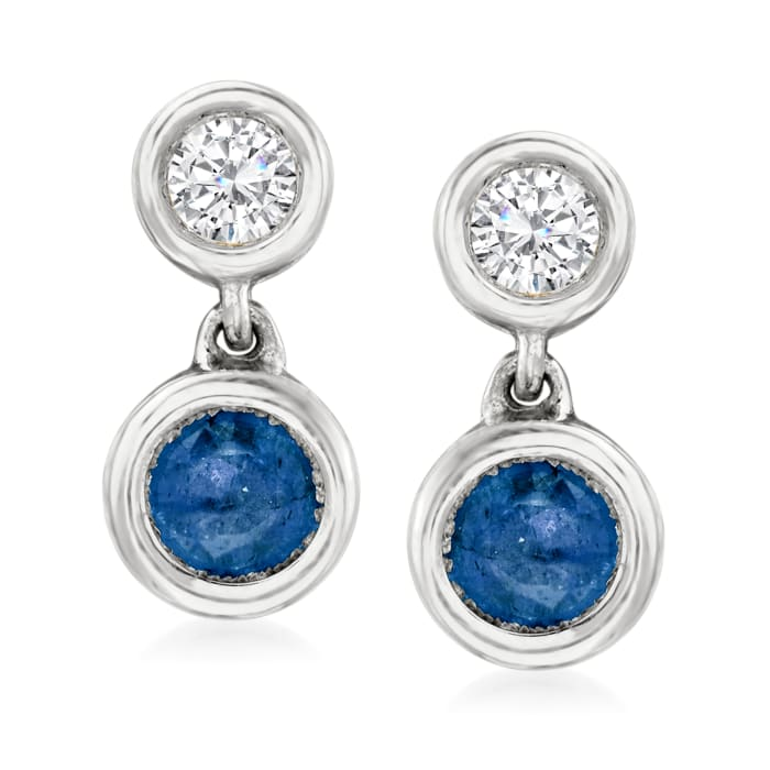 .50 ct. t.w. Sapphire and .25 ct. t.w. Diamond Drop Earrings in 14kt White Gold