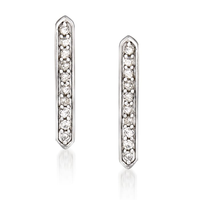 Diamond-Accented Linear Bar Earrings in 14kt White Gold