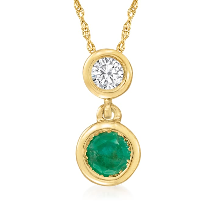 .20 Carat Emerald and .12 Carat Diamond Pendant Necklace in 14kt Yellow Gold