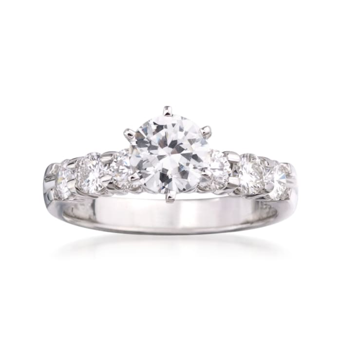 .85 ct. t.w. Diamond Engagement Ring Setting in 14kt White Gold