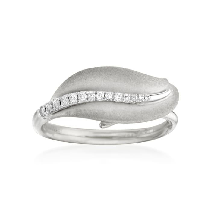 Simon G. 18kt White Gold Leaf Design Ring with Diamonds