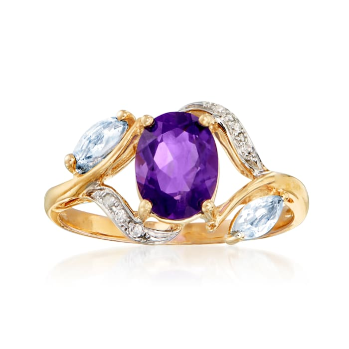 1.20 Carat Amethyst and .30 ct. t.w. Sky Blue Topaz Ring with Diamond Accents in 14kt Yellow Gold