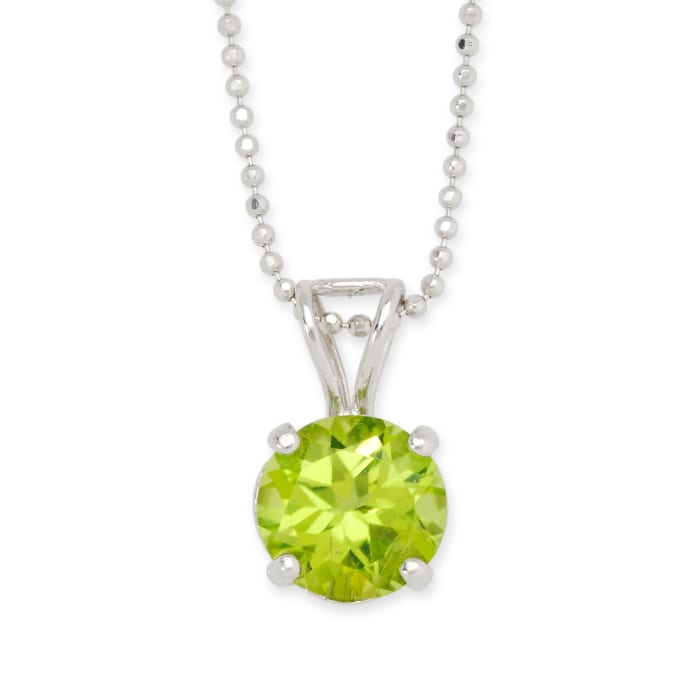 2.00 Carat Peridot Solitaire Necklace in 14kt White Gold
