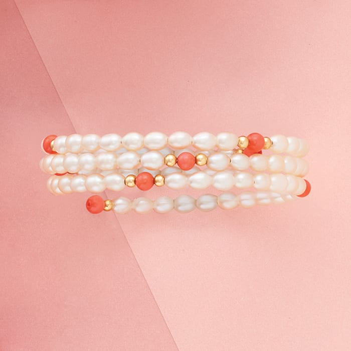 4-4.5mm Cultured Pearl and Coral Multi-Strand Adjustable Wrap Bracelet in 14kt Yellow Gold