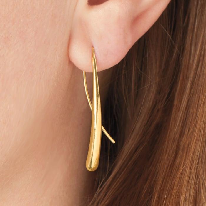 14kt Yellow Gold Long Teardrop Earrings