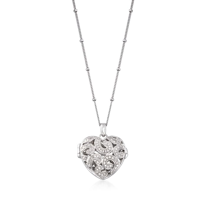 Sterling Silver Heart Locket Pendant Necklace with Diamond Accents