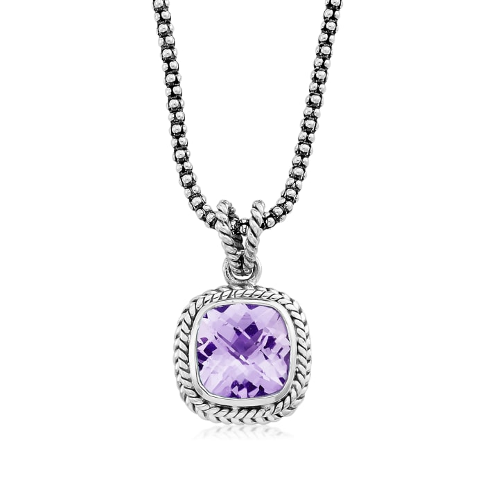 3.40 Carat Amethyst Rope Pendant Necklace in Sterling Silver