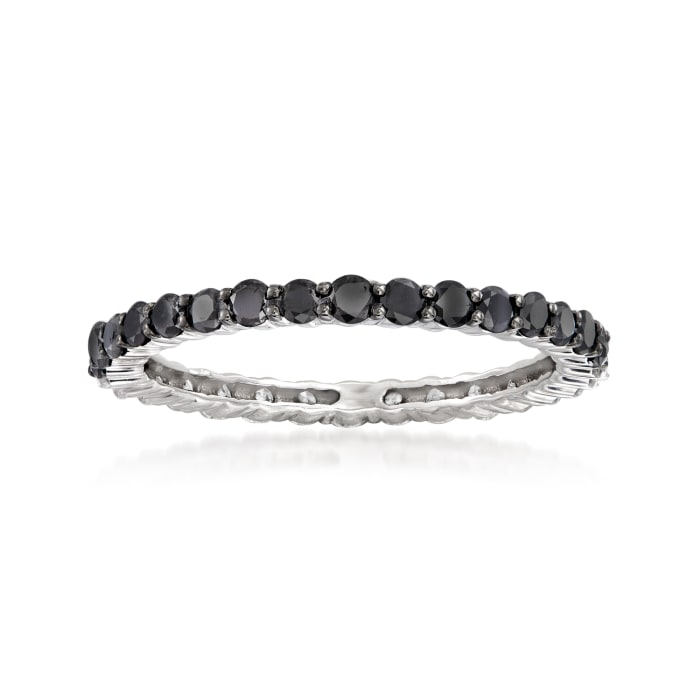 1.00 ct. t.w. Black and White Diamond Eternity Band in 14kt White Gold
