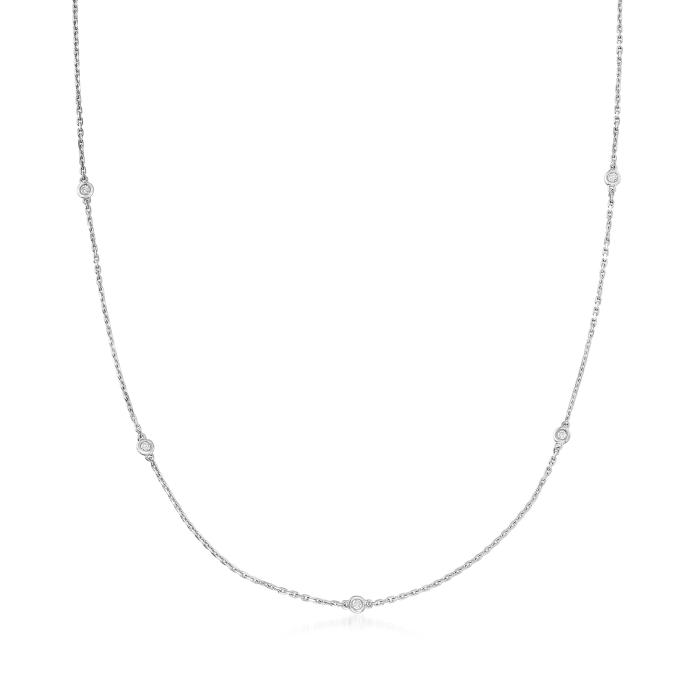 .25 ct. t.w. Bezel-Set Diamond Station Necklace in Sterling Silver