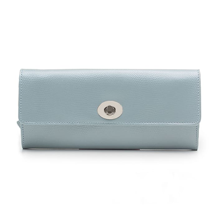 "Wolf ""London"" Ice Blue Leather Jewelry Roll"
