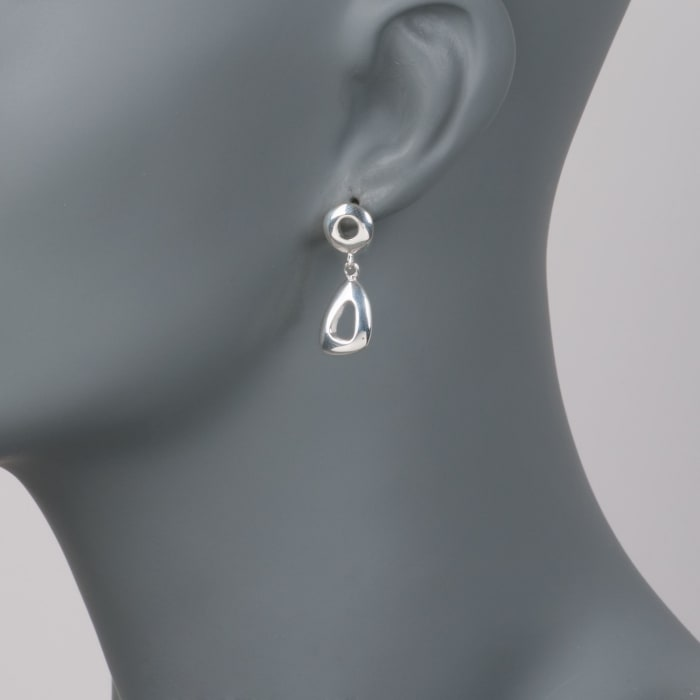 Zina Sterling Silver Open Geometric Drop Earrings