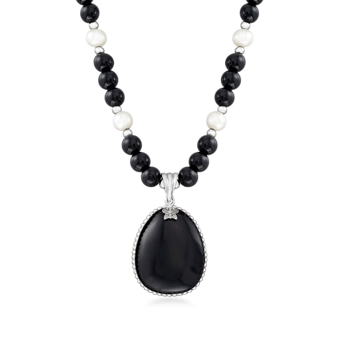 Cultured Pearl and Black Onyx Beaded Necklace with Sterling Silver
