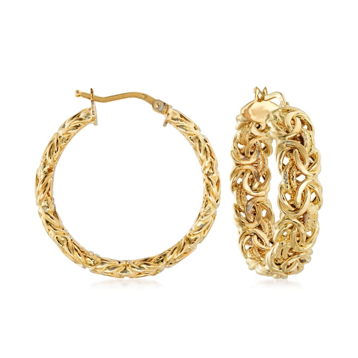 Italian 18kt Yellow Gold Byzantine Hoop Earrings
