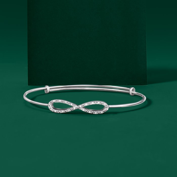 Diamond-Accented Infinity Symbol Bangle Bracelet in Sterling Silver