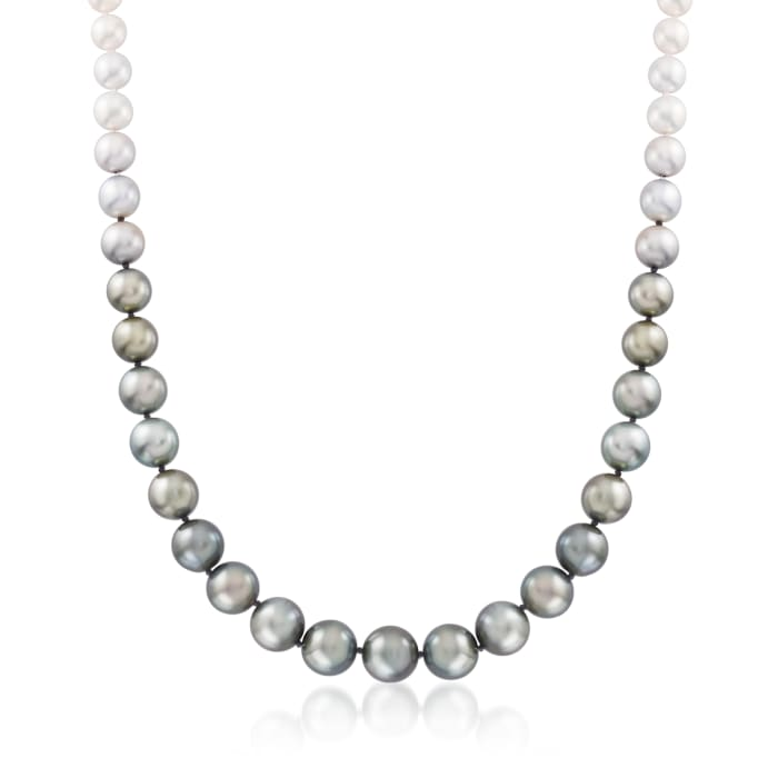 10-13.7mm Black Cultured Tahitian Pearl and 8.5-9mm Cultured Akoya Pearl Necklace with 14kt White Gold