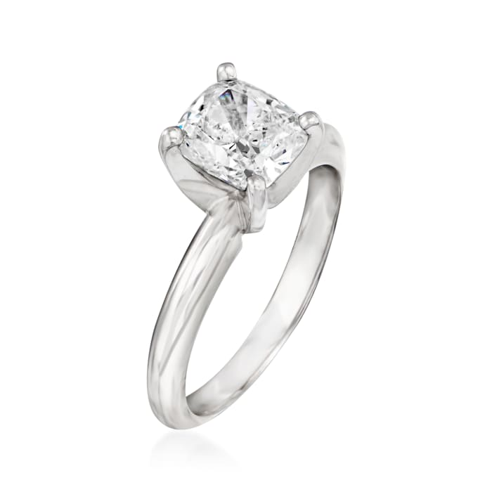 1.60 Carat Certified Diamond Solitaire Engagement Ring in 14kt White Gold