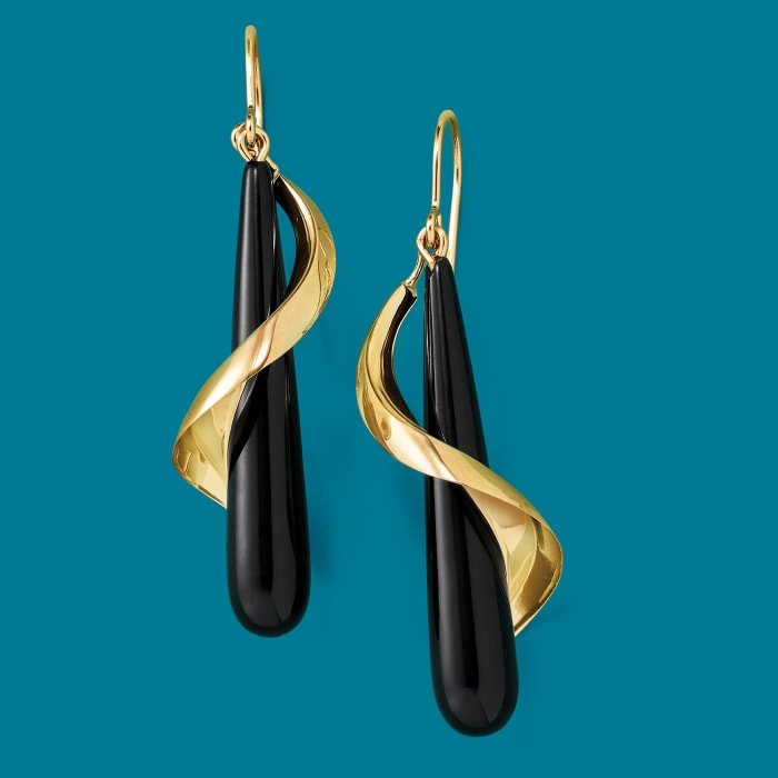 Elongated Black Onyx Teardrop Spiral Earrings in 14kt Yellow Gold