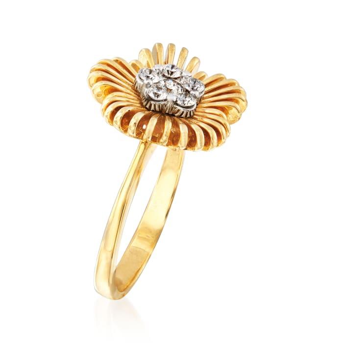 Simon G. .22 ct. t.w. Diamond Flower Ring in 18kt Yellow Gold