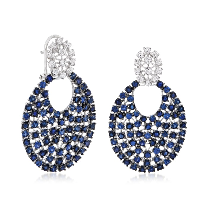 7.50 ct. t.w. Sapphire and .96 ct. t.w. Diamond Drop Earrings in 18kt White Gold